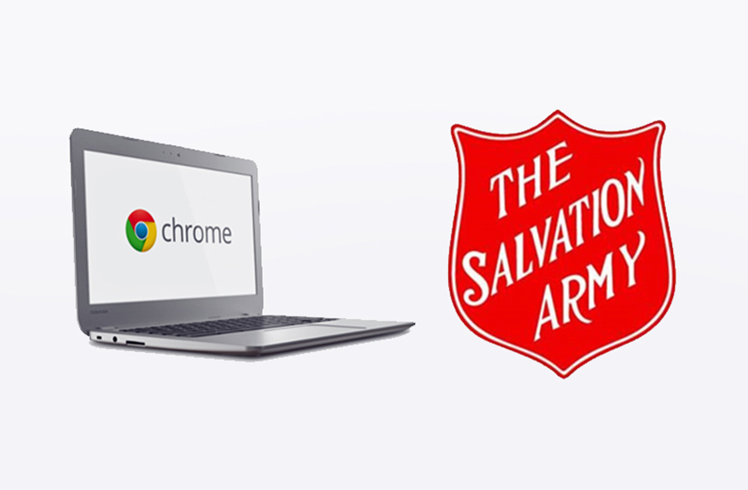 Chromebook and Salvation Army logos